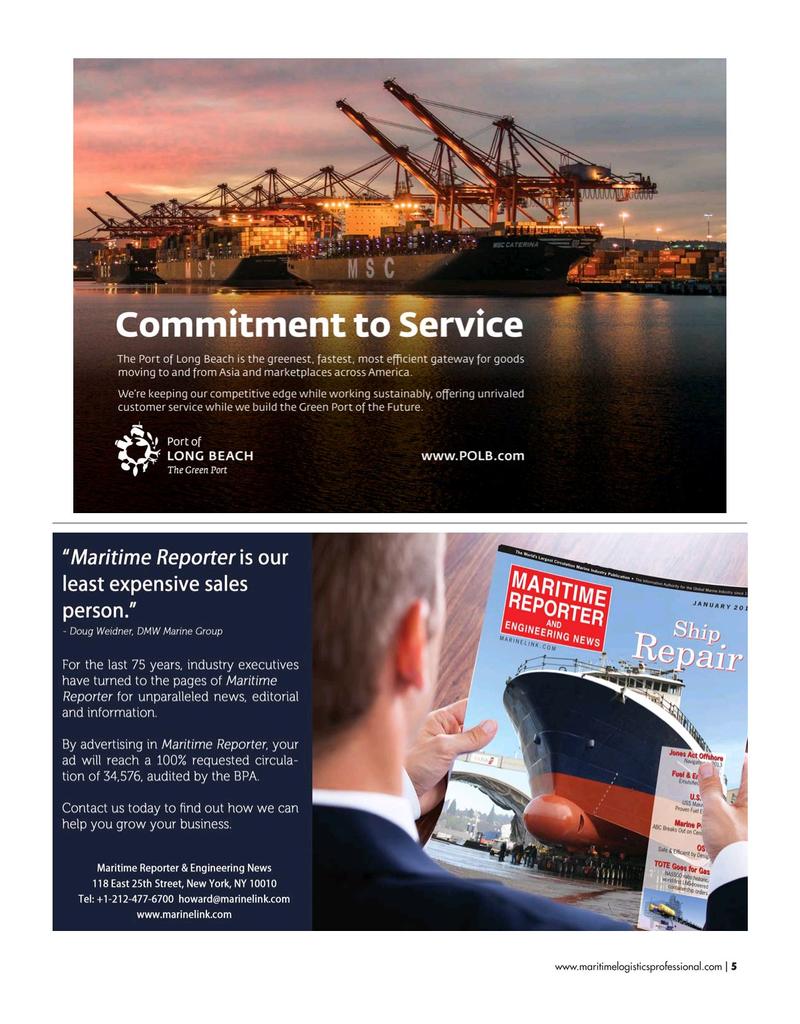 Maritime Logistics Professional Magazine, page 5,  May/Jun 2019