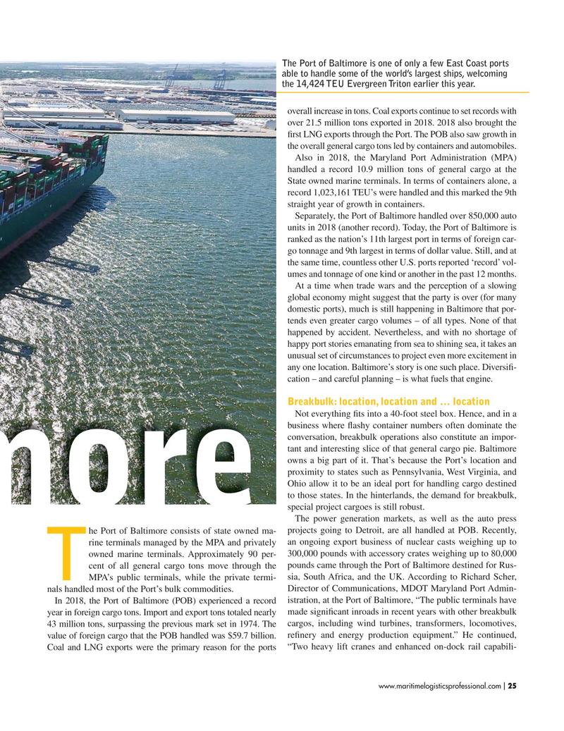 Maritime Logistics Professional Magazine, page 25,  Jul/Aug 2019