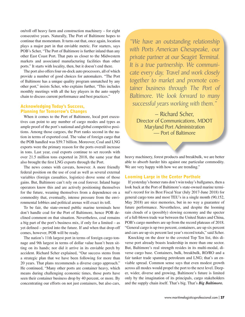 Maritime Logistics Professional Magazine, page 27,  Jul/Aug 2019