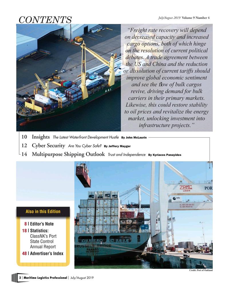Maritime Logistics Professional Magazine, page 2,  Jul/Aug 2019