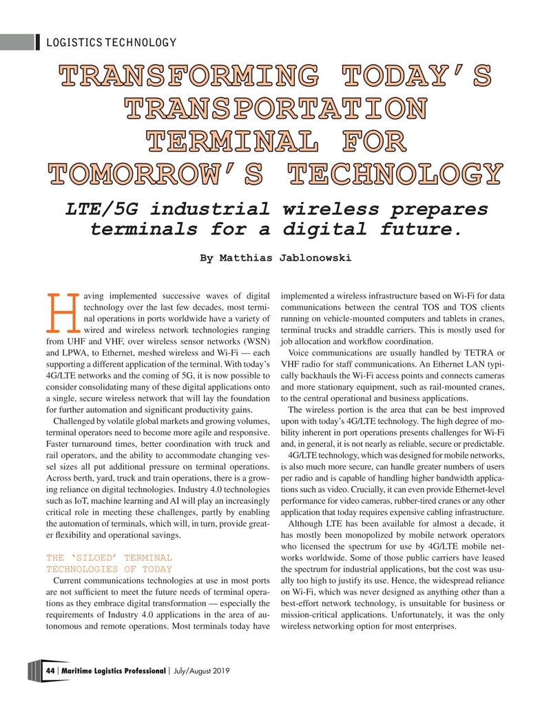 Maritime Logistics Professional Magazine, page 44,  Jul/Aug 2019