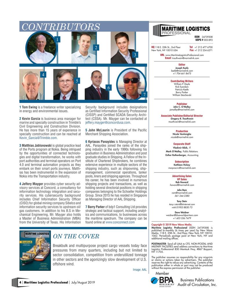 Maritime Logistics Professional Magazine, page 4,  Jul/Aug 2019