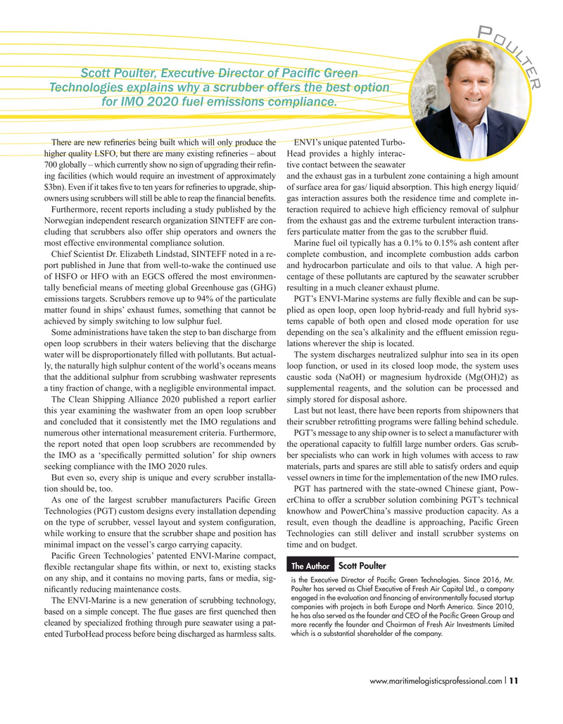 Maritime Logistics Professional Magazine, page 11,  Sep/Oct 2019