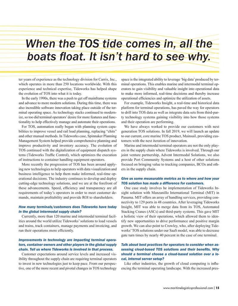 Maritime Logistics Professional Magazine, page 15,  Sep/Oct 2019