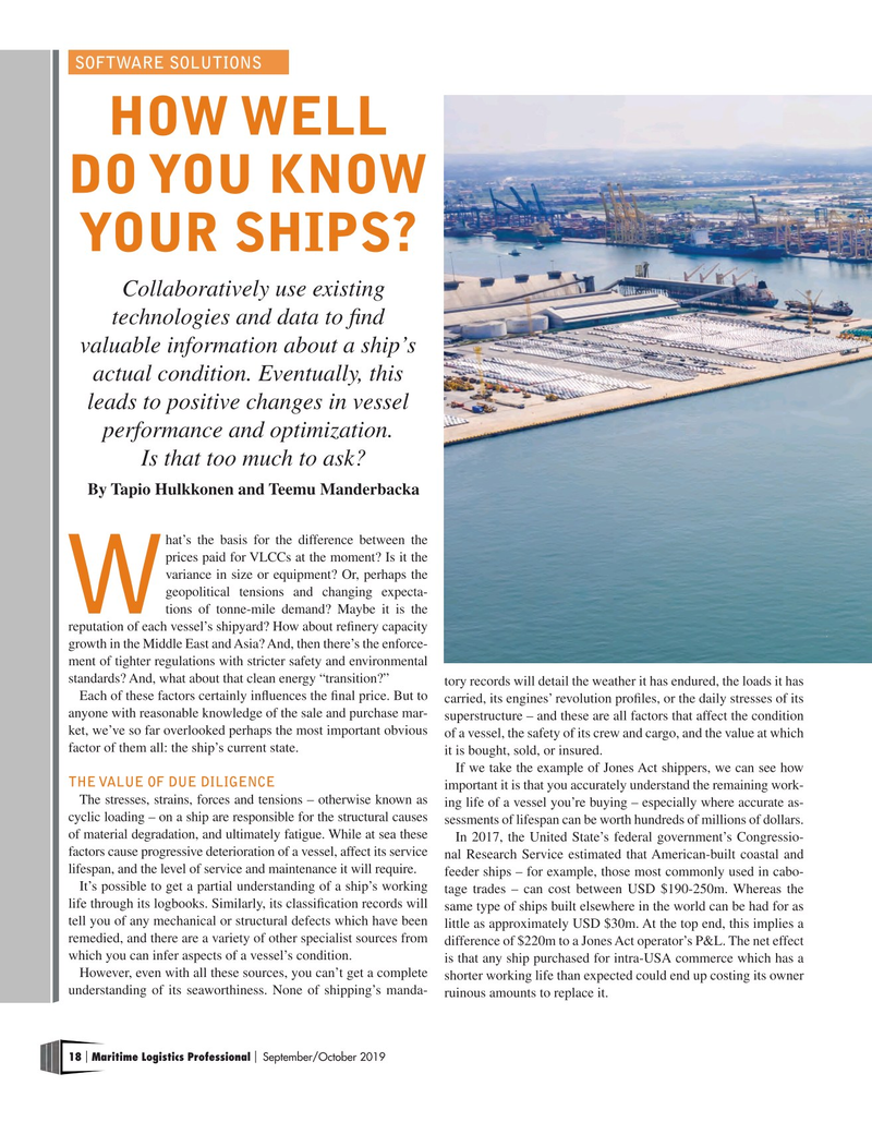 Maritime Logistics Professional Magazine, page 18,  Sep/Oct 2019