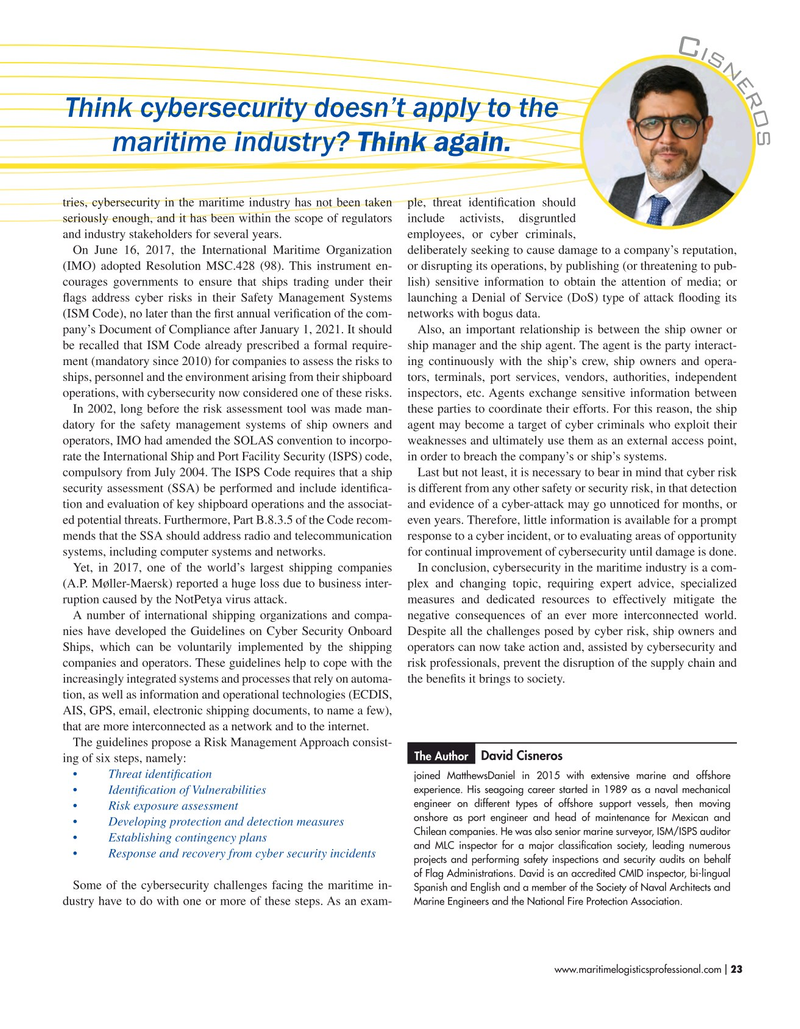 Maritime Logistics Professional Magazine, page 23,  Sep/Oct 2019