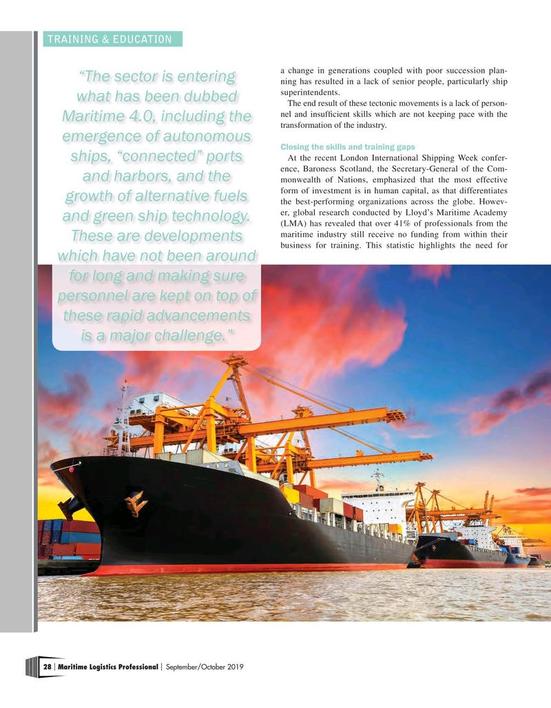 Maritime Logistics Professional Magazine, page 28,  Sep/Oct 2019