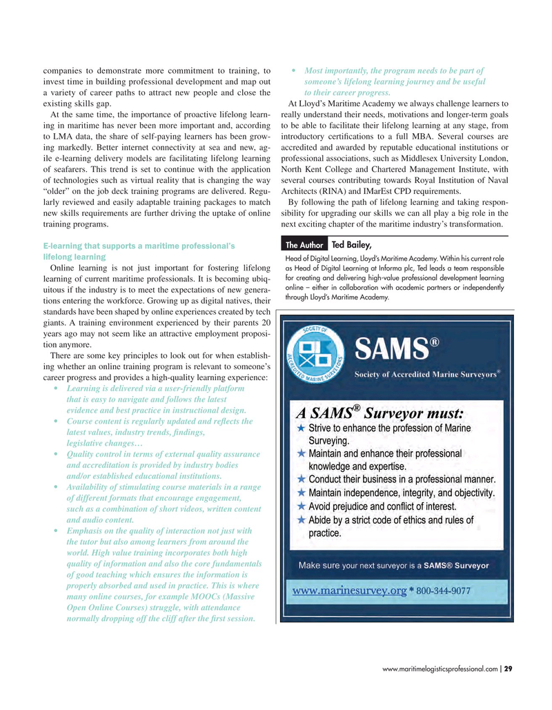 Maritime Logistics Professional Magazine, page 29,  Sep/Oct 2019