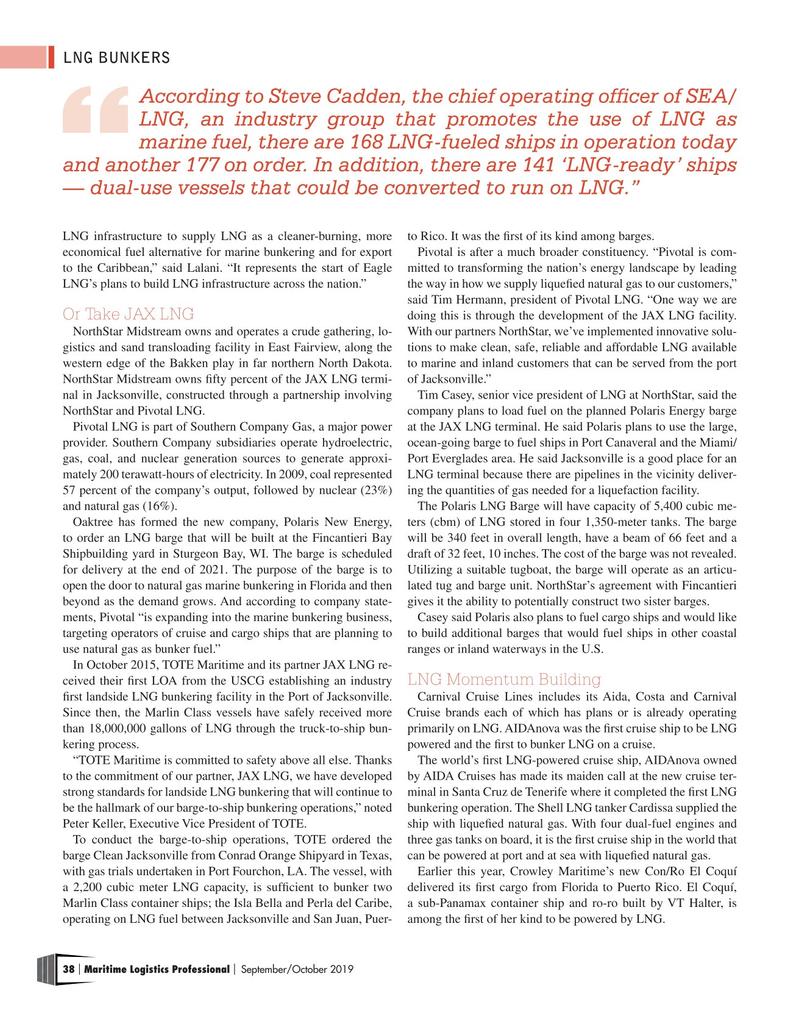 Maritime Logistics Professional Magazine, page 38,  Sep/Oct 2019