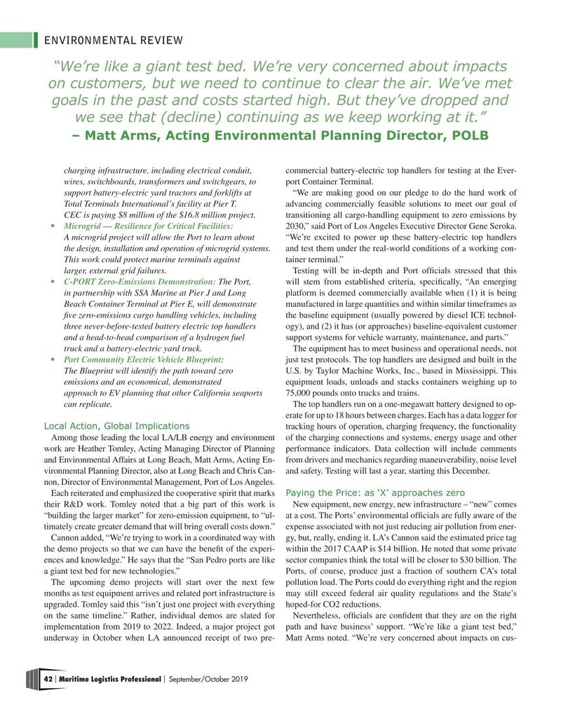 Maritime Logistics Professional Magazine, page 42,  Sep/Oct 2019