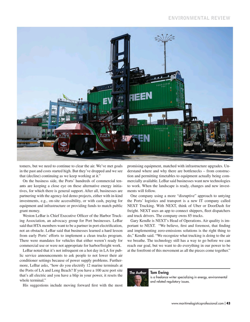 Maritime Logistics Professional Magazine, page 43,  Sep/Oct 2019