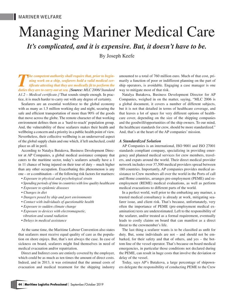 Maritime Logistics Professional Magazine, page 44,  Sep/Oct 2019