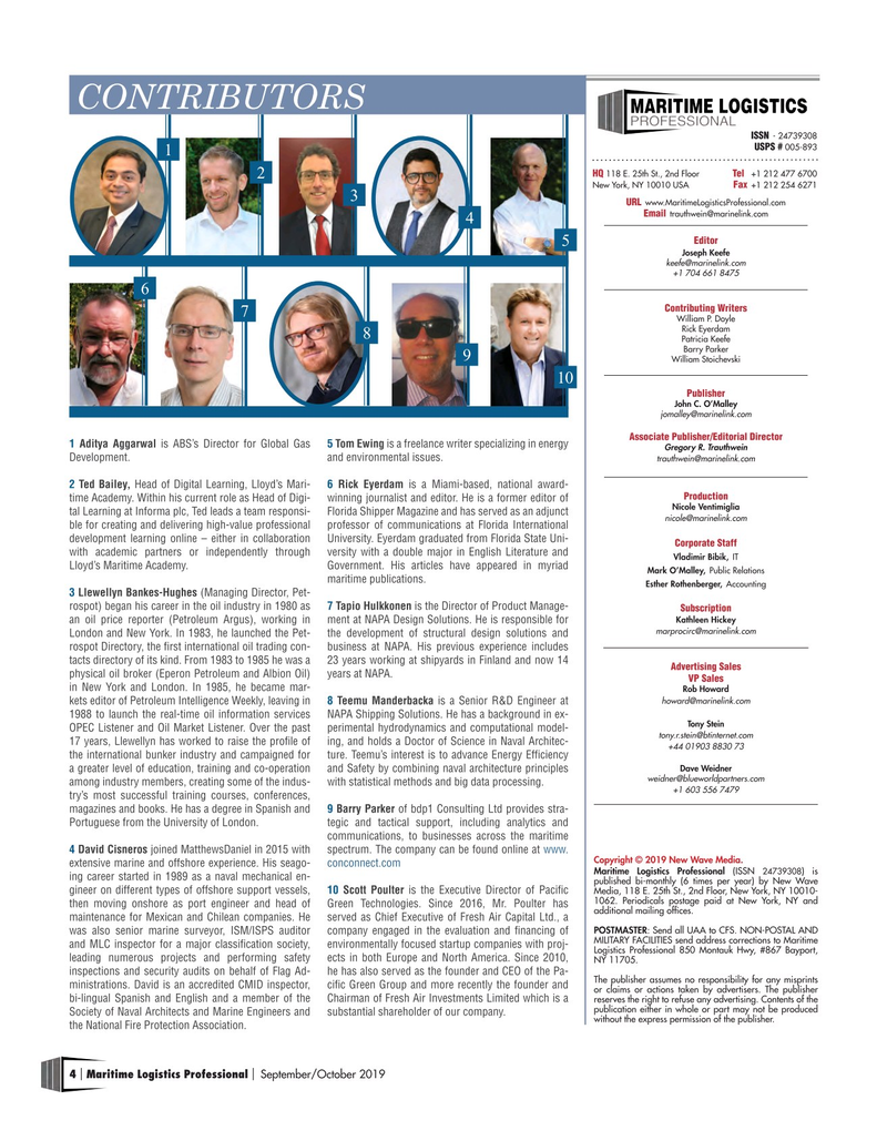 Maritime Logistics Professional Magazine, page 4,  Sep/Oct 2019