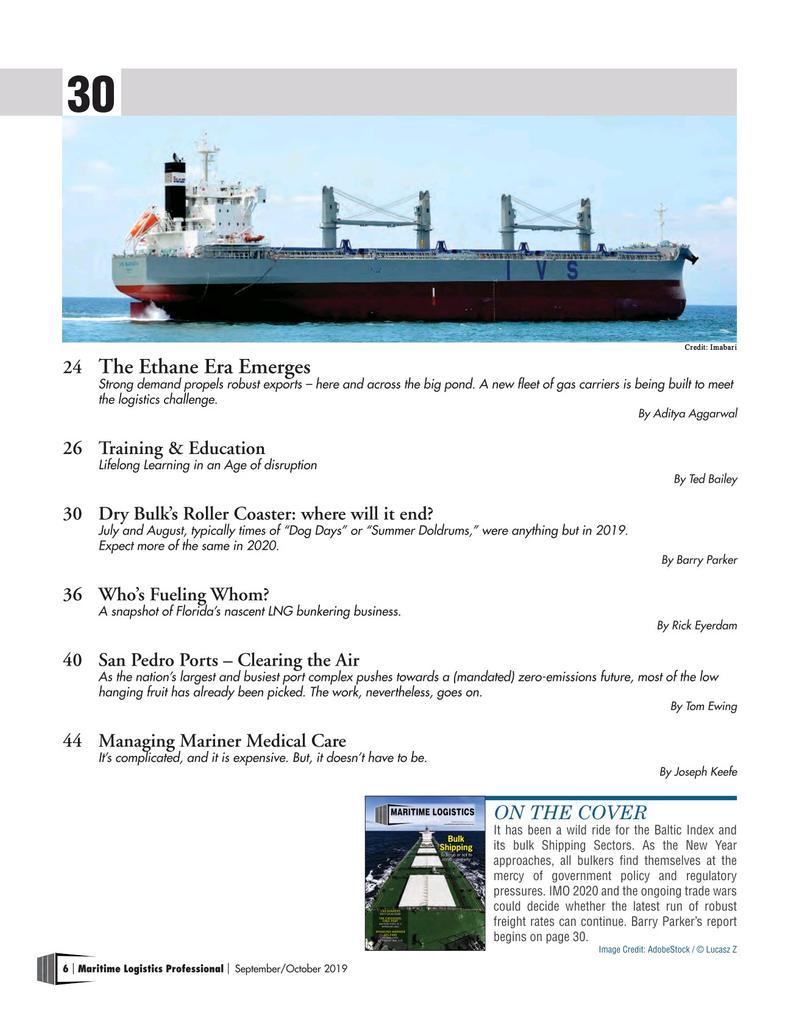 Maritime Logistics Professional Magazine, page 6,  Sep/Oct 2019