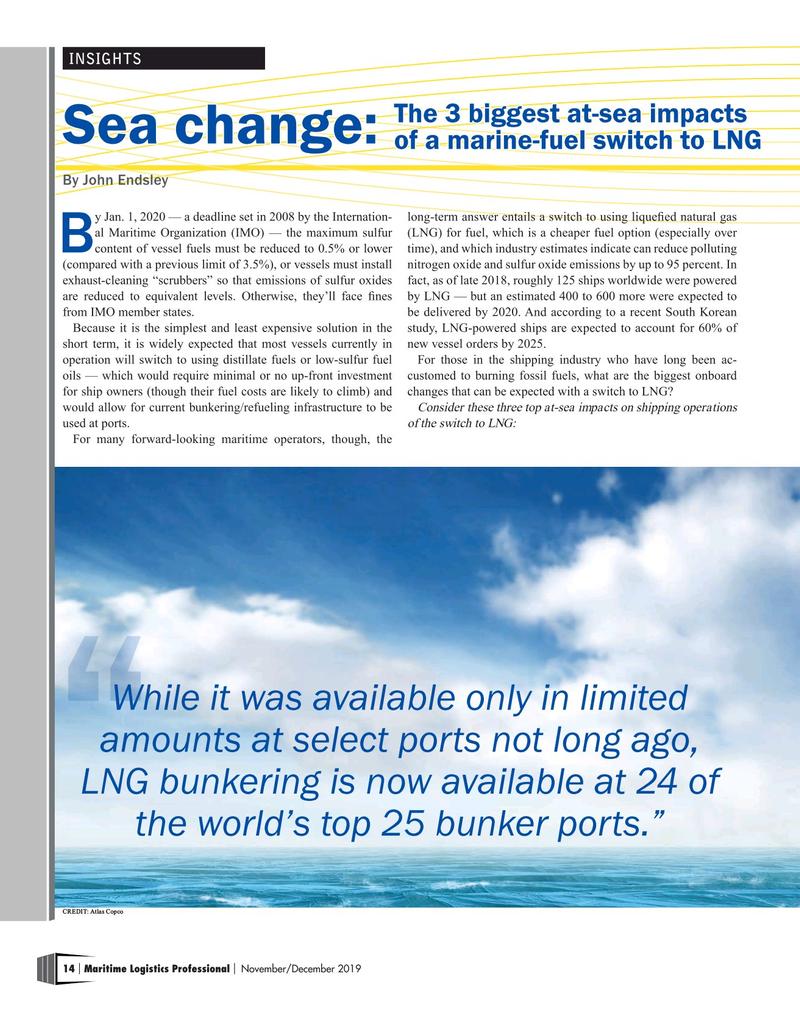 Maritime Logistics Professional Magazine, page 14,  Nov/Dec 2019