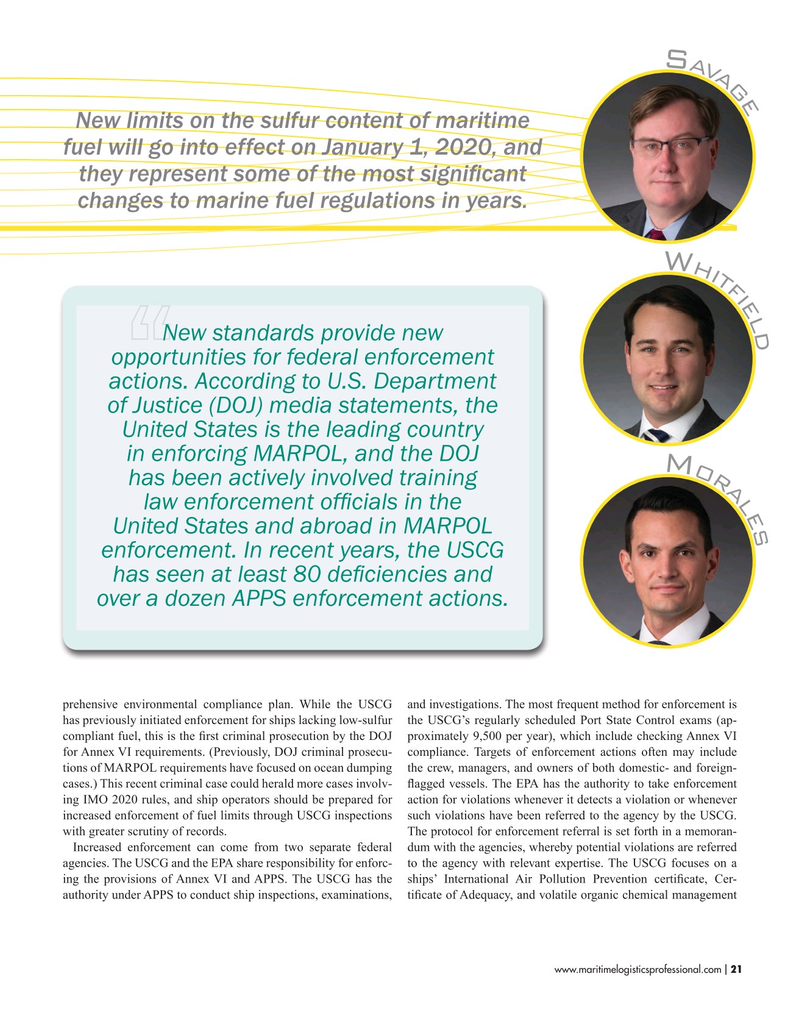 Maritime Logistics Professional Magazine, page 21,  Nov/Dec 2019