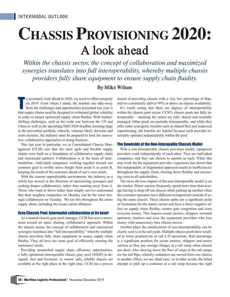 Maritime Logistics Professional Magazine, page 28,  Nov/Dec 2019