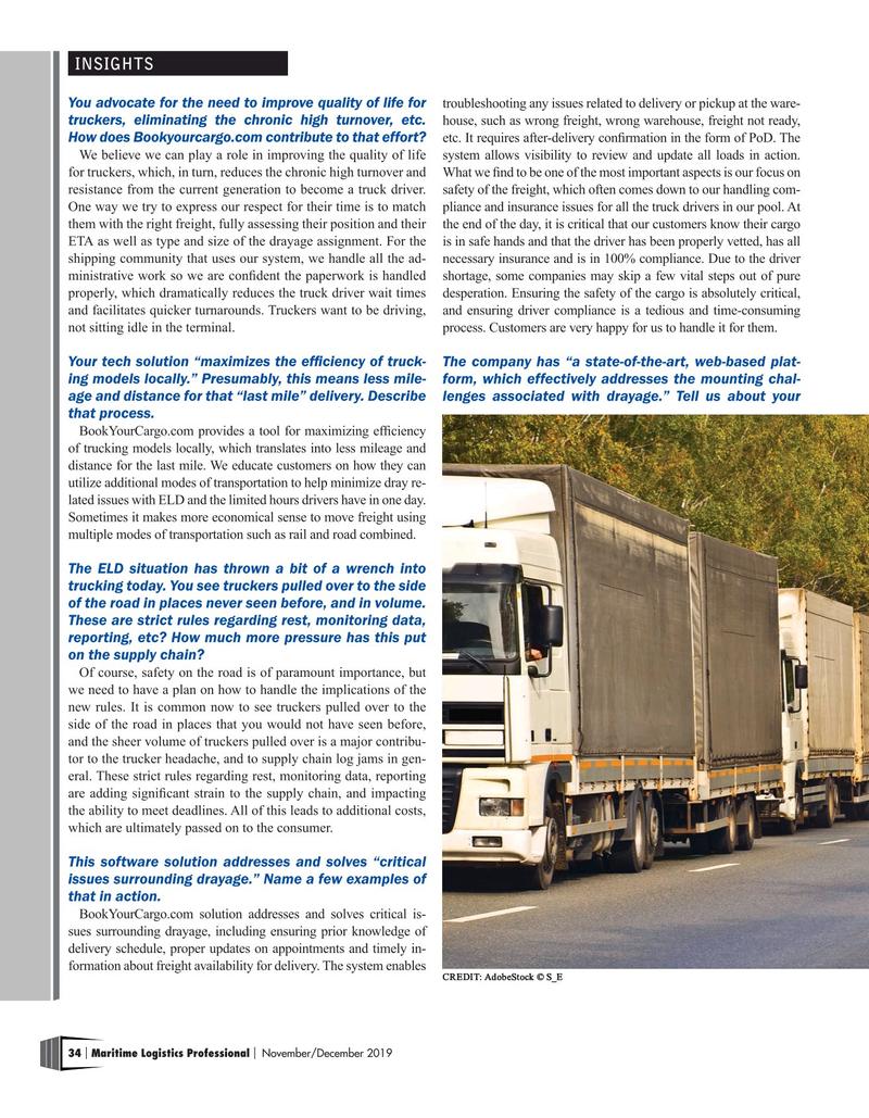 Maritime Logistics Professional Magazine, page 34,  Nov/Dec 2019