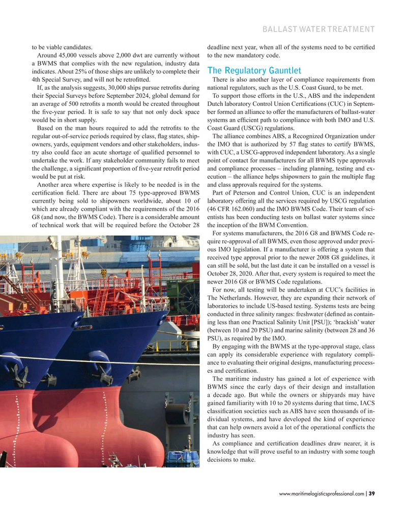 Maritime Logistics Professional Magazine, page 39,  Nov/Dec 2019