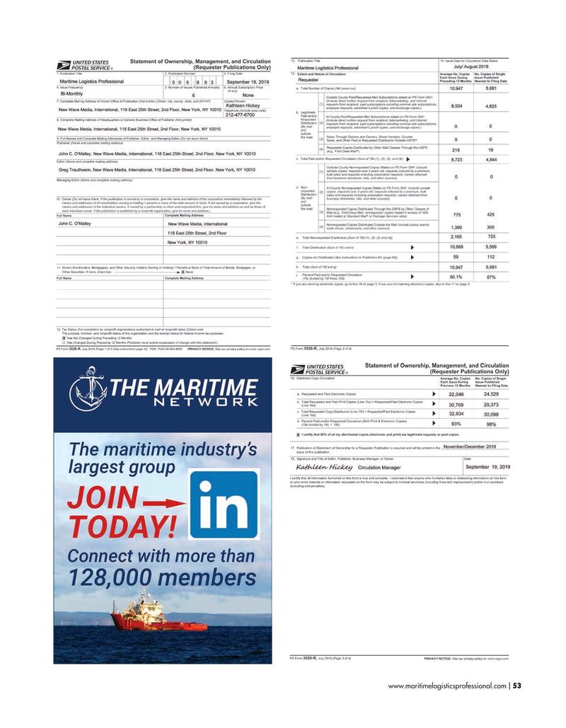 Maritime Logistics Professional Magazine, page 53,  Nov/Dec 2019