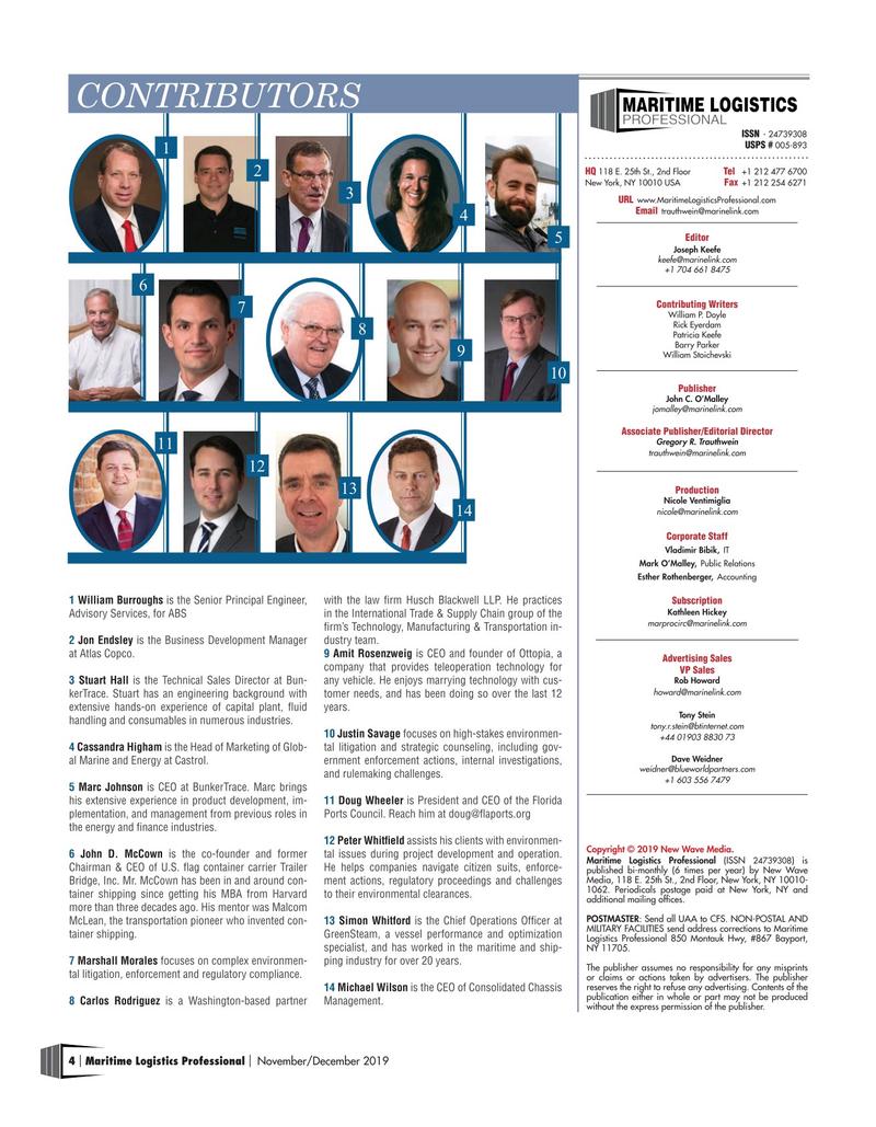 Maritime Logistics Professional Magazine, page 4,  Nov/Dec 2019