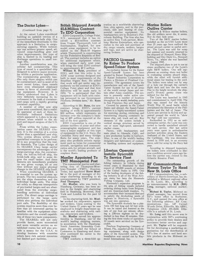 Maritime Reporter Magazine, page 8,  Aug 15, 1971