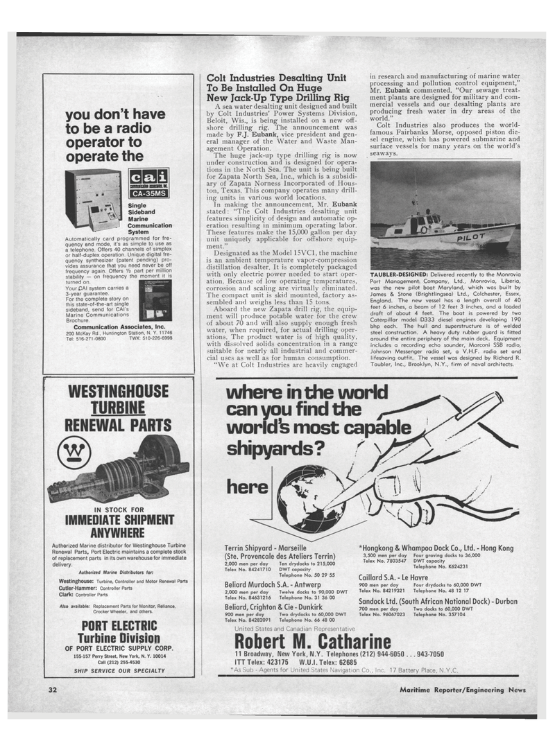 Maritime Reporter Magazine, page 30,  Aug 15, 1971 New York