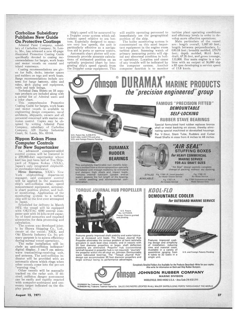 Maritime Reporter Magazine, page 35,  Aug 15, 1971 Kokan Plans