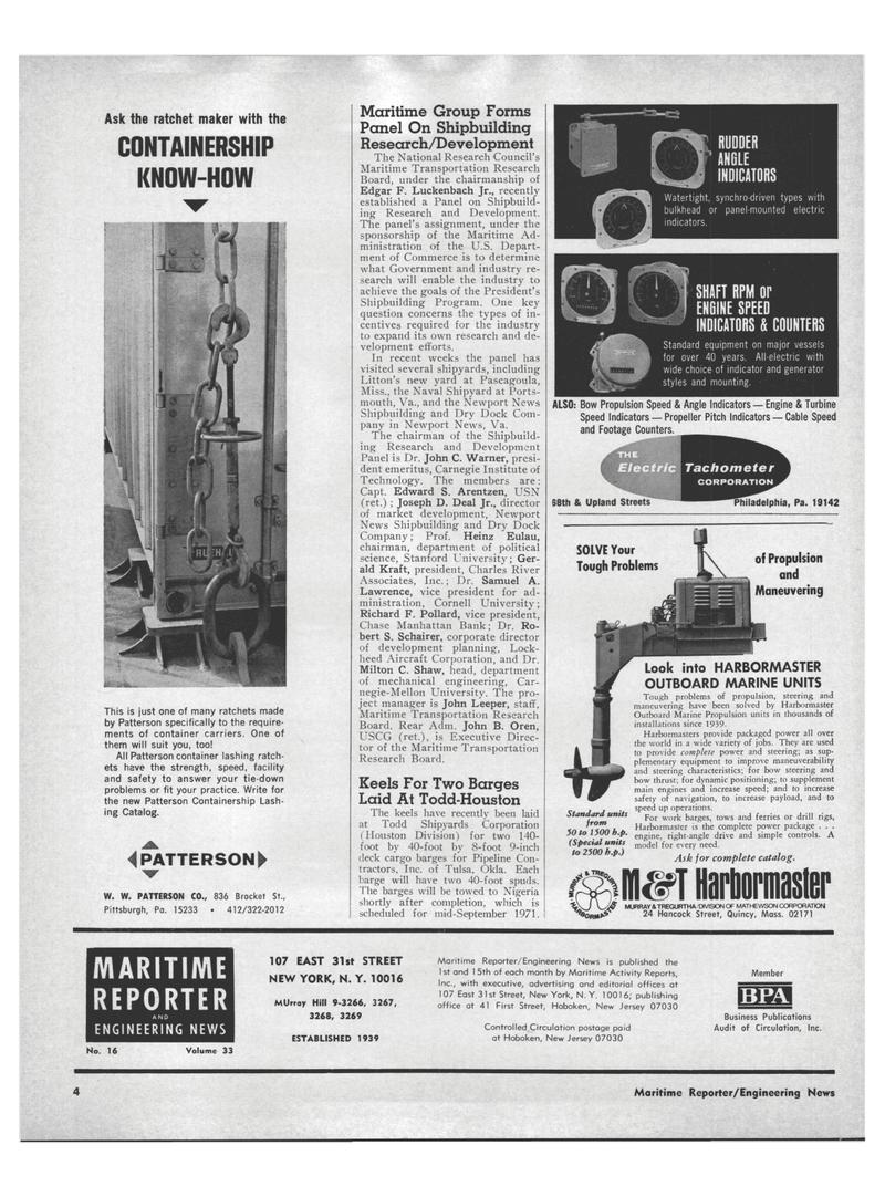 Maritime Reporter Magazine, page 2,  Aug 15, 1971