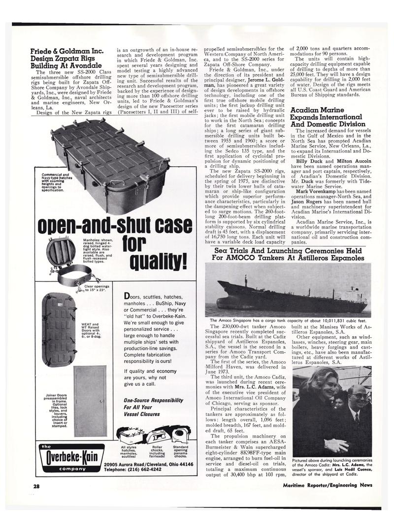 Maritime Reporter Magazine, page 25,  Feb 15, 1974