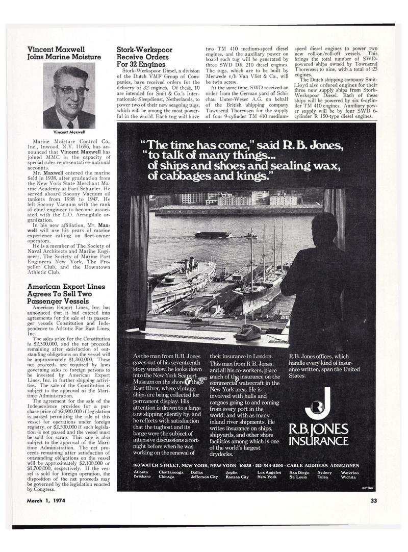 Maritime Reporter Magazine, page 29,  Mar 1974