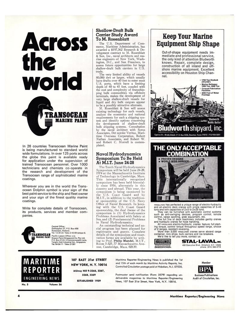 Maritime Reporter Magazine, page 2,  Mar 1974 U.S. Department of Com