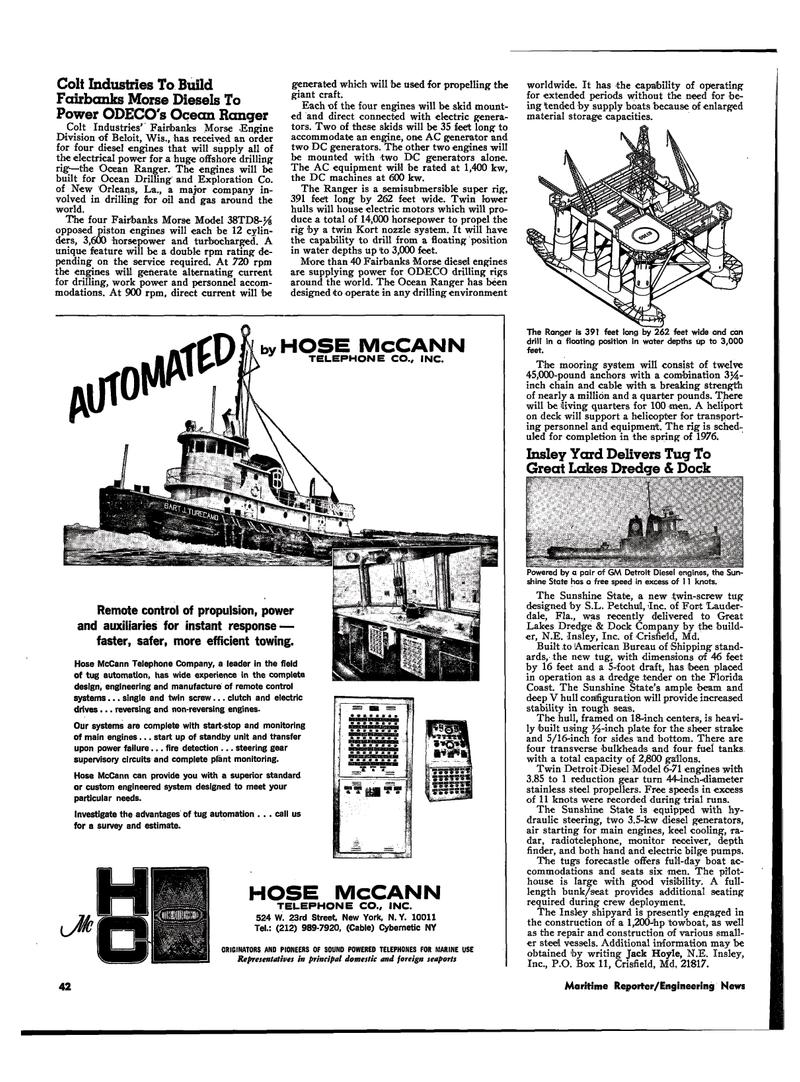 Maritime Reporter Magazine, page 38,  Mar 1974 Ranger