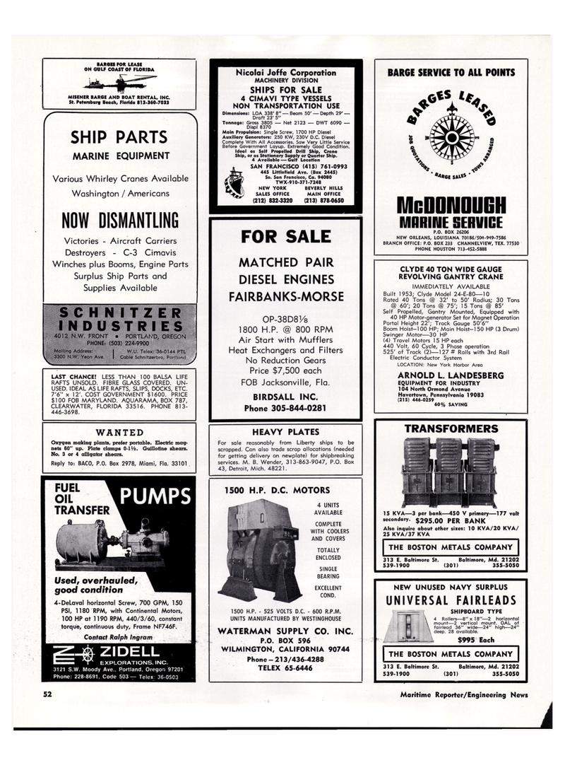 Maritime Reporter Magazine, page 50,  Mar 1974 California