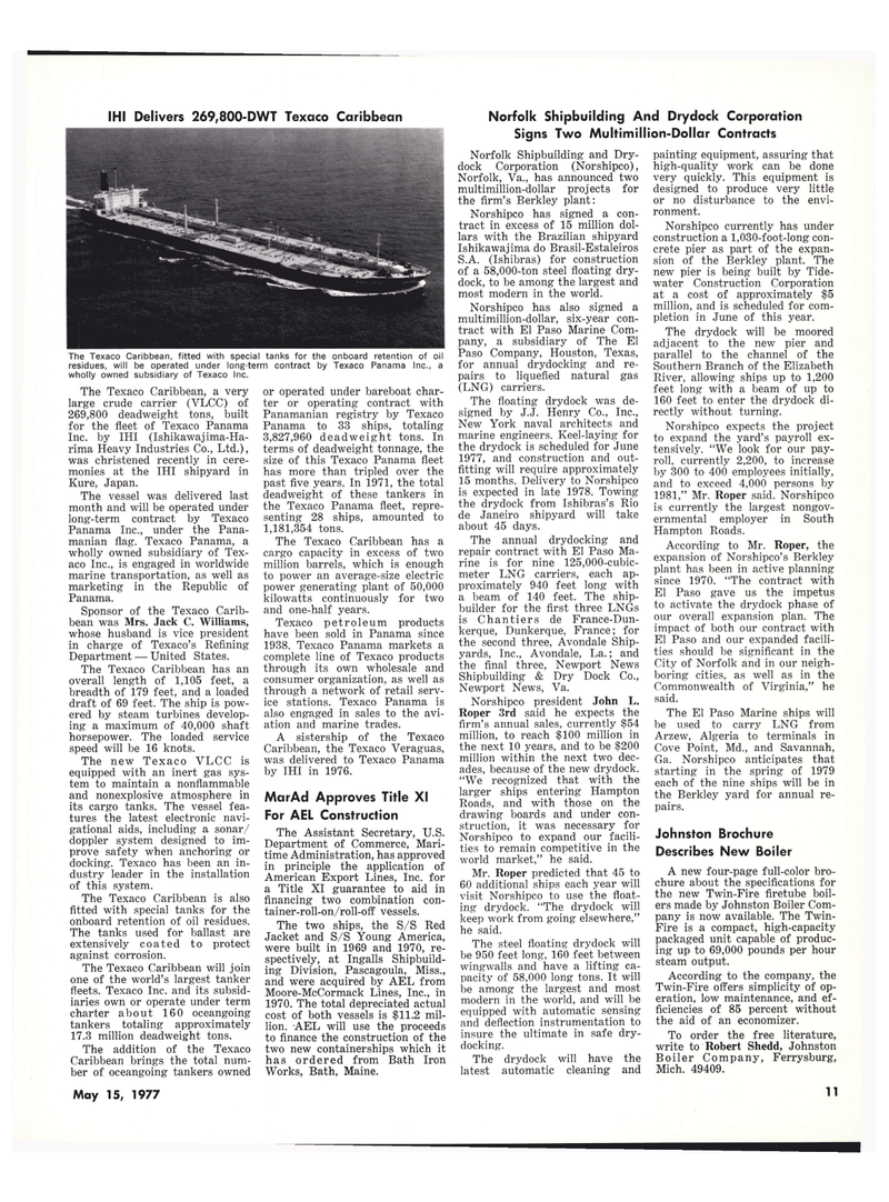 Maritime Reporter Magazine, page 11,  May 15, 1977