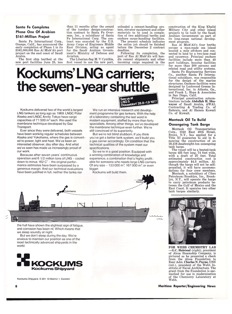 Maritime Reporter Magazine, page 6,  Aug 1977