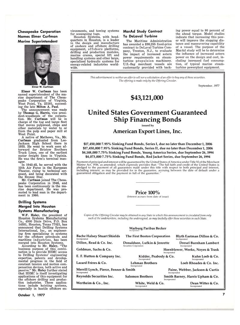 Maritime Reporter Magazine, page 7,  Oct 1977
