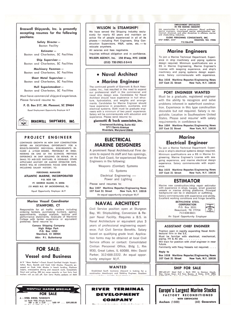Maritime Reporter Magazine, page 54,  Oct 15, 1977