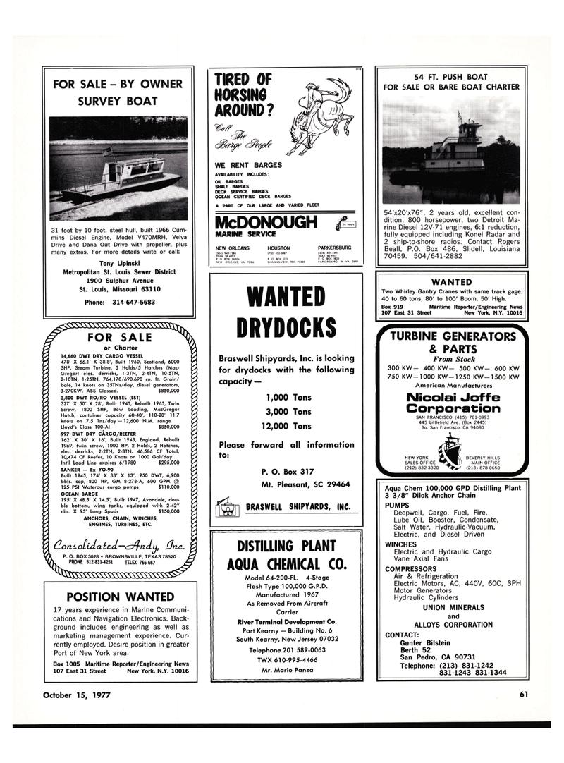 Maritime Reporter Magazine, page 57,  Oct 15, 1977