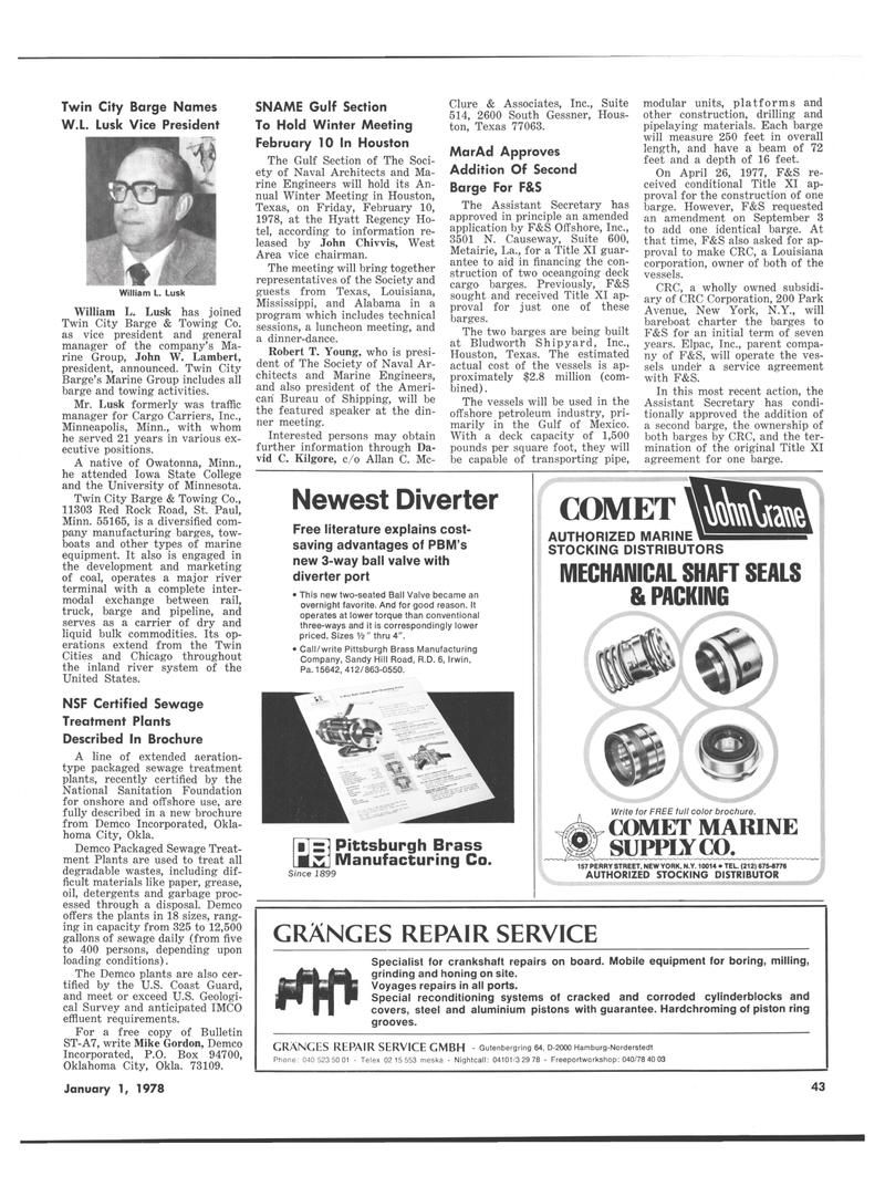 Maritime Reporter Magazine, page 41,  Jan 1978 Mississippi