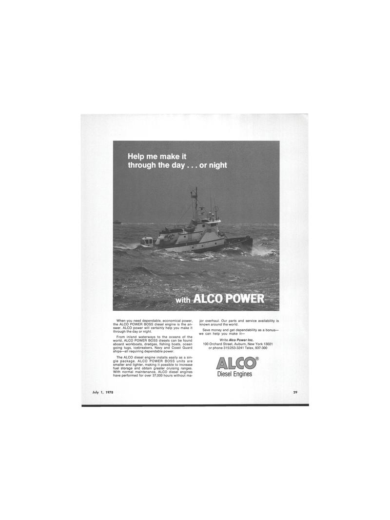 Maritime Reporter Magazine, page 4th Cover,  Jul 1978 Write Alco Power Inc.