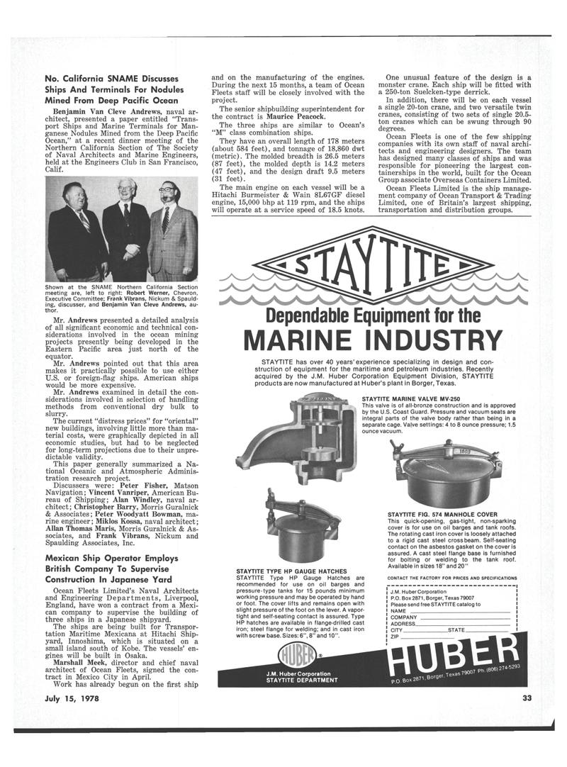 Maritime Reporter Magazine, page 31,  Jul 15, 1978