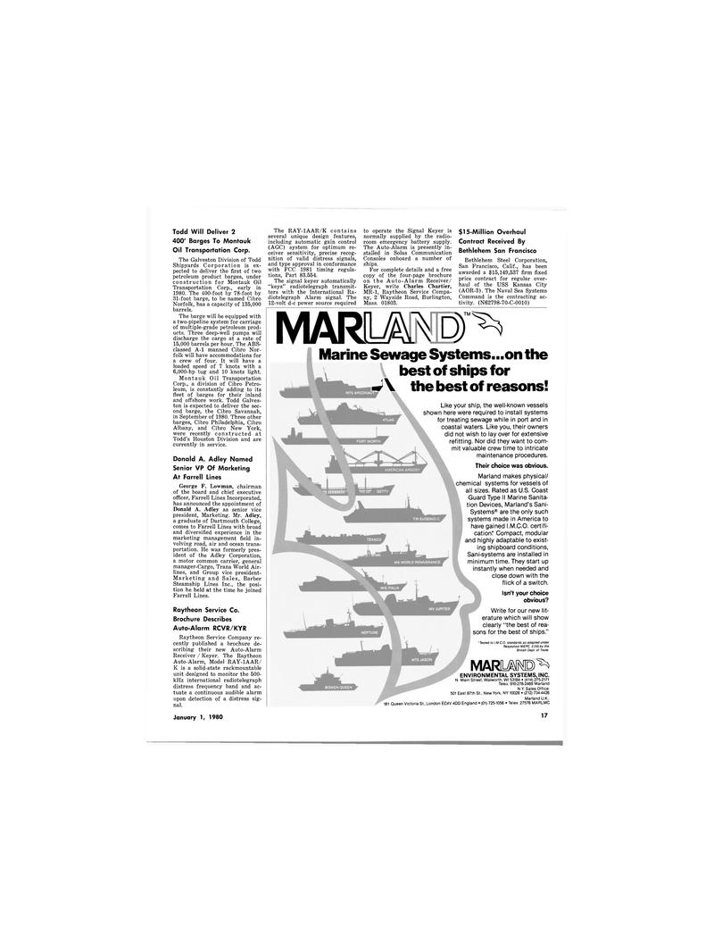Maritime Reporter Magazine, page 11,  Jan 1980 California