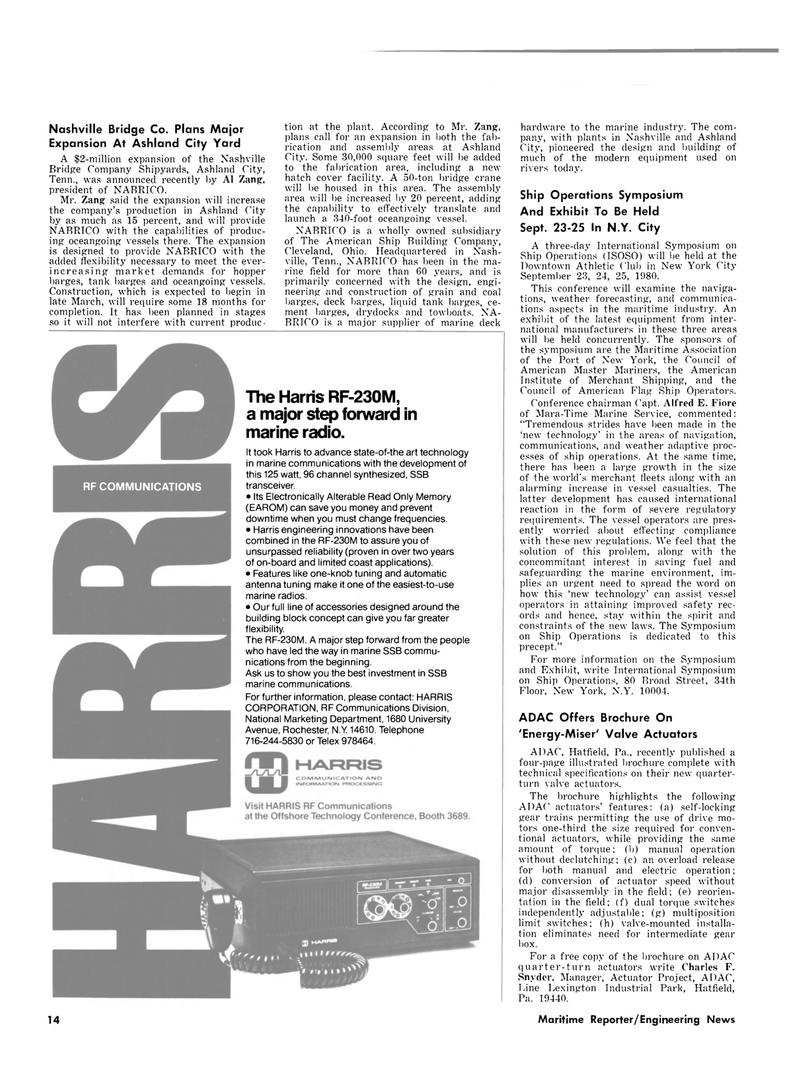 Maritime Reporter Magazine, page 10,  Mar 1980 Ohio