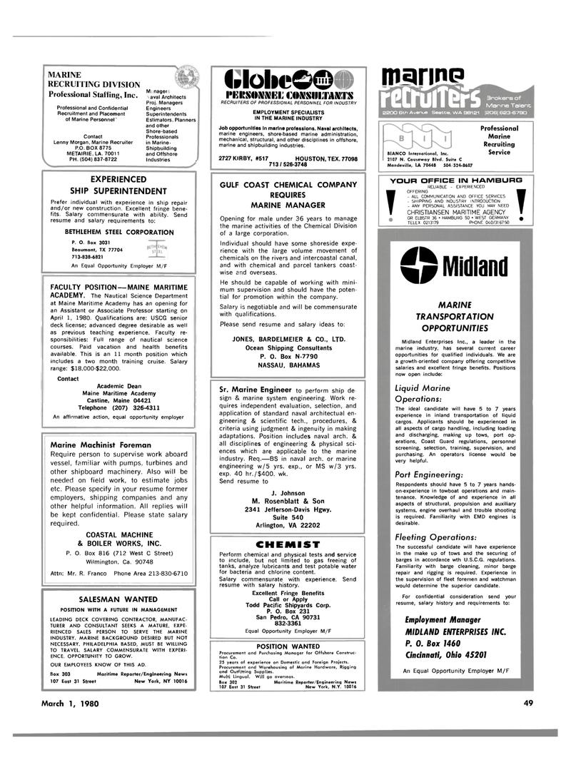 Maritime Reporter Magazine, page 41,  Mar 1980 Louisiana