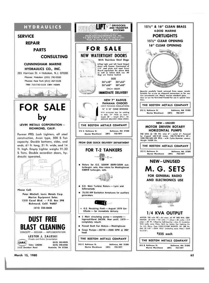 Maritime Reporter Magazine, page 59,  Mar 15, 1980