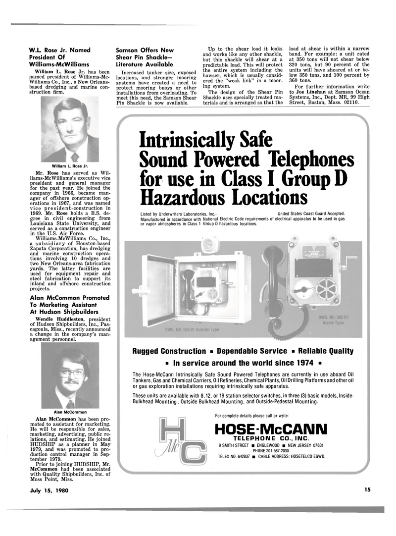 Maritime Reporter Magazine, page 13,  Jul 15, 1980 Alan McCommon Promoted