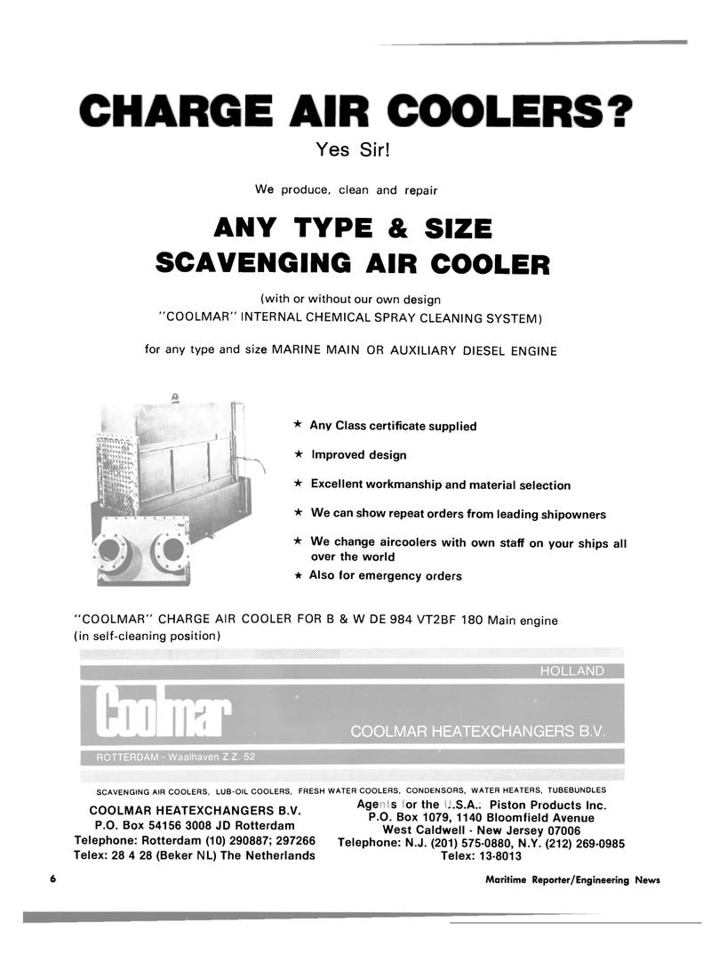 Maritime Reporter Magazine, page 4,  Jul 15, 1980 HOLLAND COOLMAR HEATEXCHANGERS B.V.