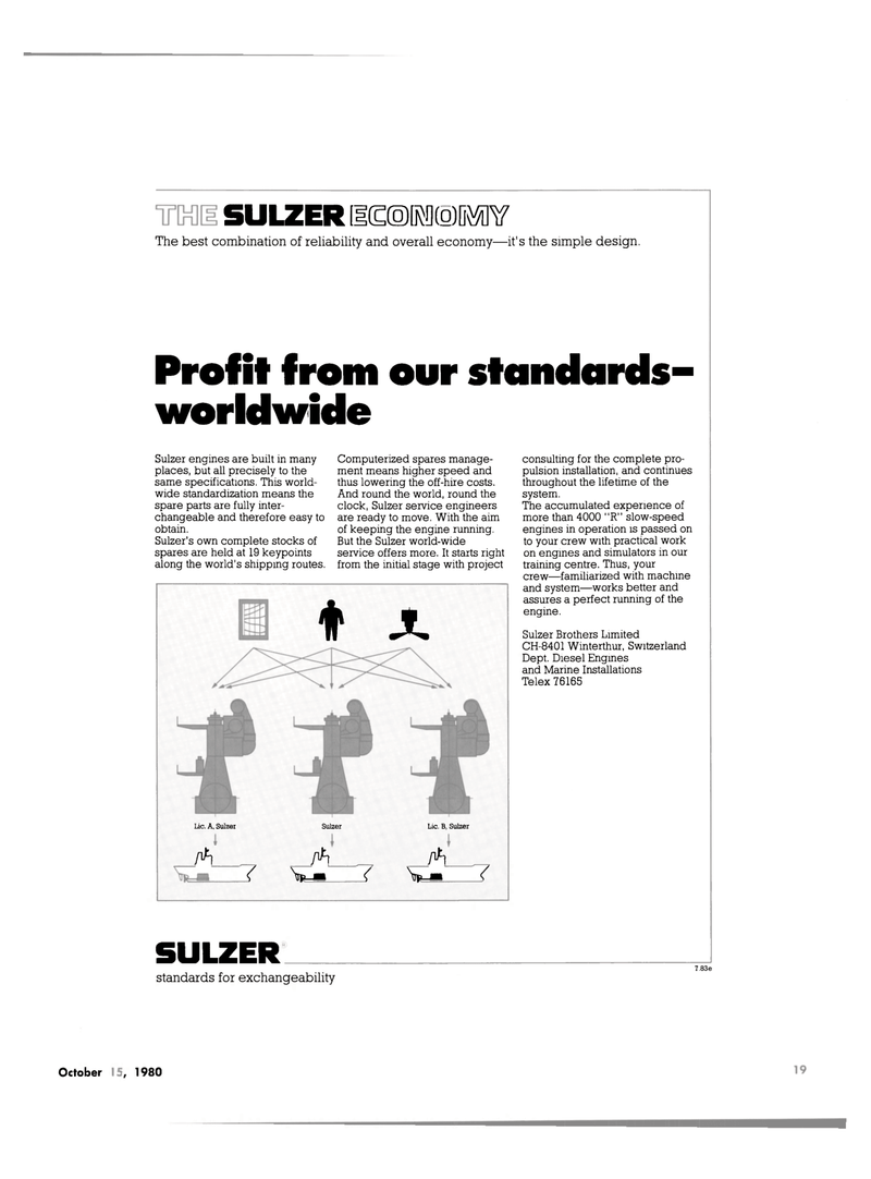 Maritime Reporter Magazine, page 17,  Oct 15, 1980 Sulzer Brothers Limited