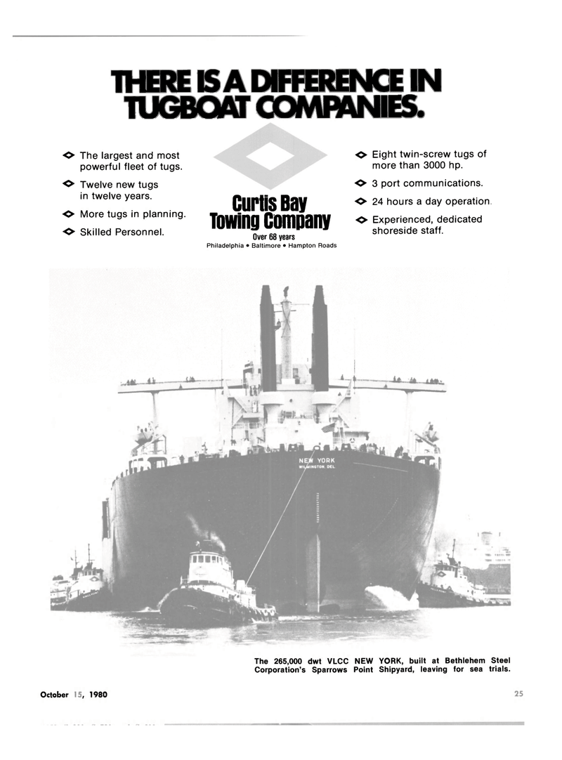 Maritime Reporter Magazine, page 23,  Oct 15, 1980 CURTIS BAY TOWING COMPANY